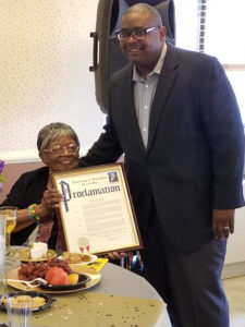 Mayor Tony Vauss, 102 year old Irvington Resident.Marjorie Carter